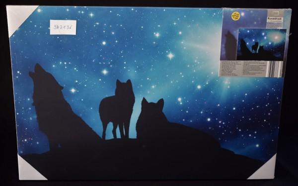 Kunstdruck mit LED-Leuchteffekten Motiv Wölfe