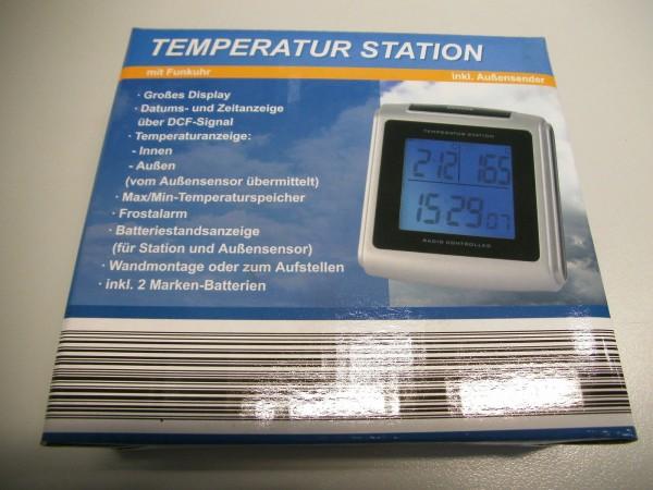 Temperatur Station mit Funkuhr inkl. Außensender