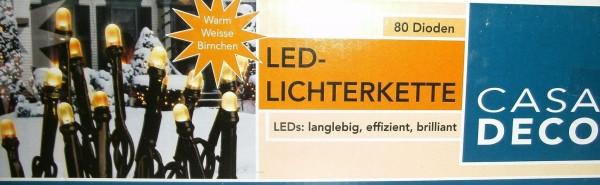 LED Lichterkette warmweiß für Innen- und Außenbereich 18 Meter 80 Lämpchen