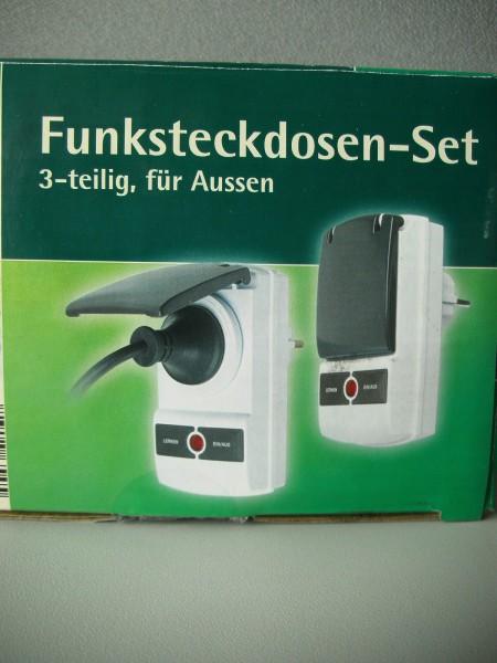 Funksteckdosen-Set, 3-teilig, für außen