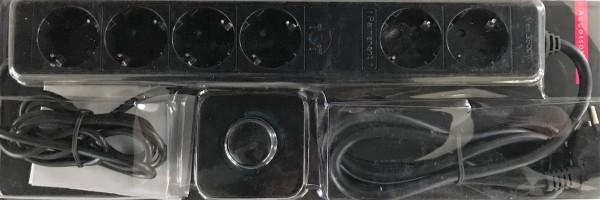 Steckdosenleiste schwarz mit Fussschalter