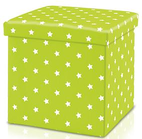 Kinder Sitz-Aufbewahrungsbox/grün/Sterne